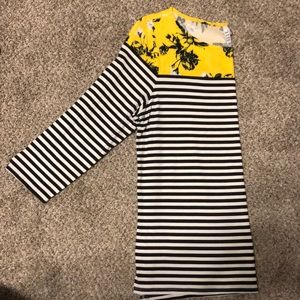 3/4 Length Striped Top with Floral Print
